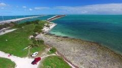 Bahia Honda old and new bridge in Florida Keys, aerial view Stock Footage