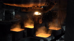 Moulds with hot metal  Stock Footage