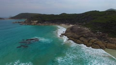 Aerial view of Wilsons Promontory coastline and sea - stock footage