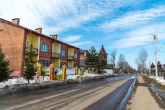 Tutaev, Russia - March 28, 2016. Architecture and general view of  town - stock photo