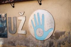 Uzupis Republic, autonomous community, Vilnius, Lithuania Stock Photos