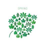 Green spring leaves. Stock Illustration