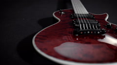 red electro guitar play rock music instrument - stock footage