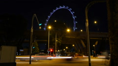 Stock Video Footage of Singapore Flyer Timelapse Temasek Ave at Night Traffic Cars