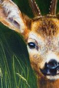 painting deer on canvas, and grass background - stock illustration