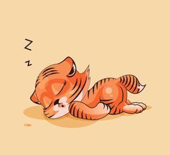 Tiger cub asleep - stock illustration