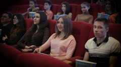 people watching movie in cinema - stock footage