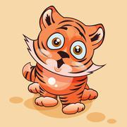Tiger cub surprised - stock illustration