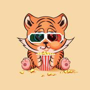 Tiger cub watching a movie - stock illustration