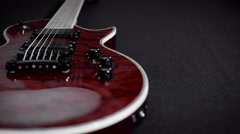 Red electro guitar play rock music instrument Stock Footage