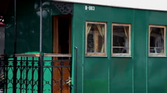 Vintage carriage of a passenger steam train at old steam train engine exhibition Stock Footage