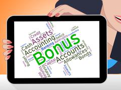 Stock Illustration of Bonus Word Indicates For Free And Added