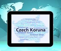 Czech Koruna Represents Exchange Rate And Coin - stock illustration