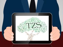 Tzs Currency Represents Exchange Rate And Coin Stock Illustration