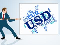 Usd Currency Means United States Dollar And Currencies Piirros