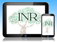 Stock Illustration of Inr Currency Means Worldwide Trading And Exchange