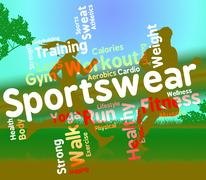 Sportswear Word Indicates Text Sweaters And Wordcloud Stock Illustration