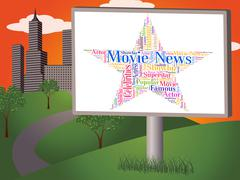 Movie News Represents Hollywood Movies And Cinemas - stock illustration