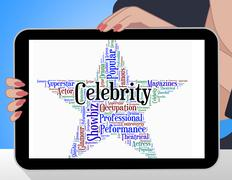 Celebrity Star Indicates Famed Stardom And Wordcloud - stock illustration