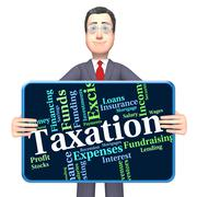 Taxation Word Indicates Levy Taxes And Irs Piirros