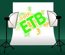 Etb Currency Means Ethiopia Birrs And Broker - stock illustration