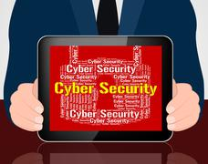 Stock Illustration of Cyber Security Indicates World Wide Web And Protect