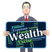 Wealth Word Shows Text Words And Worth Stock Illustration