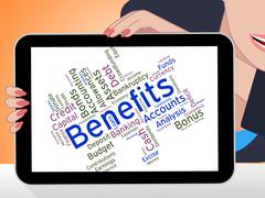 Benefits Word Indicates Compensation Rewards And Pay - stock illustration