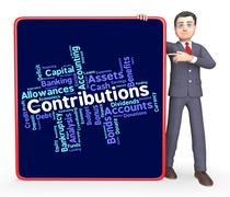 Contributions Word Means Supporter Support And Volunteer - stock illustration