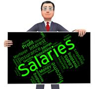 Salaries Word Shows Remuneration Pay And Text Stock Illustration