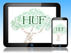 Huf Currency Shows Exchange Rate And Broker Stock Illustration