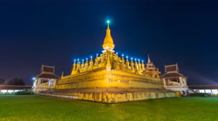 Pha That Luang Temple Landmark Travel Place Of Vientiane, Laos (zoom out) Stock Footage
