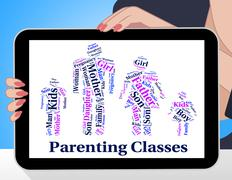 Parenting Classes Means Mother And Baby And Child - stock illustration