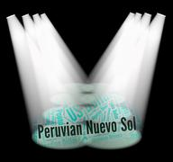 Peruvian Nuevo Sol Indicates Worldwide Trading And Currencies Stock Illustration