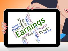 Earnings Word Means Wage Revenues And Earns Stock Illustration