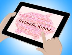 Icelandic Krona Means Exchange Rate And Broker - stock illustration