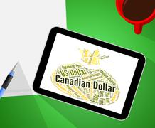 Canadian Dollar Represents Currency Exchange And Banknotes Stock Illustration