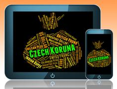 Czech Koruna Indicates Exchange Rate And Czk - stock illustration