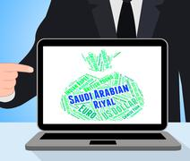 Saudi Arabian Riyal Shows Exchange Rate And Currencies - stock illustration