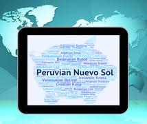 Peruvian Nuevo Sol Shows Currency Exchange And Banknotes Stock Illustration