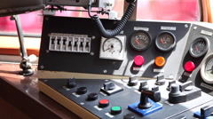 Old trains exhibition.Vintage Diesel locomotive interior and control panel cabin Stock Footage
