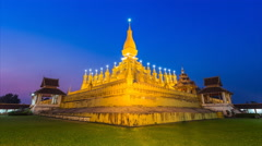 Pha That Luang Temple Landmark Travel Place Of Vientiane, Laos Stock Footage