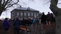 Protesting in Reykjavik  Stock Footage