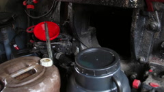 Steam engine vintage locomotive interior, gears, coal, canister and furnace - stock footage