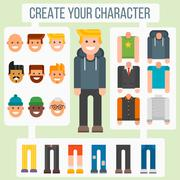 Make your flat character elements creator man in different versions vector - stock illustration