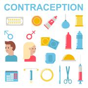 All modern types contraception methods oral sex control female protection vector - stock illustration