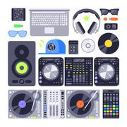 Vector set various stylized dj music equipment icon nightclub mixing turntable Stock Illustration