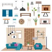 Modern living room interior with wood floor apartment furniture vector - stock illustration