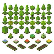 Isometric tree set green forest nature vector illustration - stock illustration
