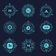 Set luxury monogram template flourishes calligraphic elegant ornament lines - stock illustration